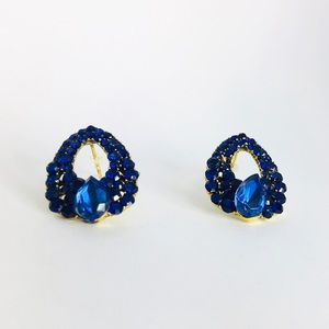New!Royal Blue Teardrop Crystal Rhinestone Earring